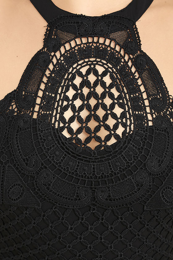 Made in the Crocheted Black Skater Dress 6