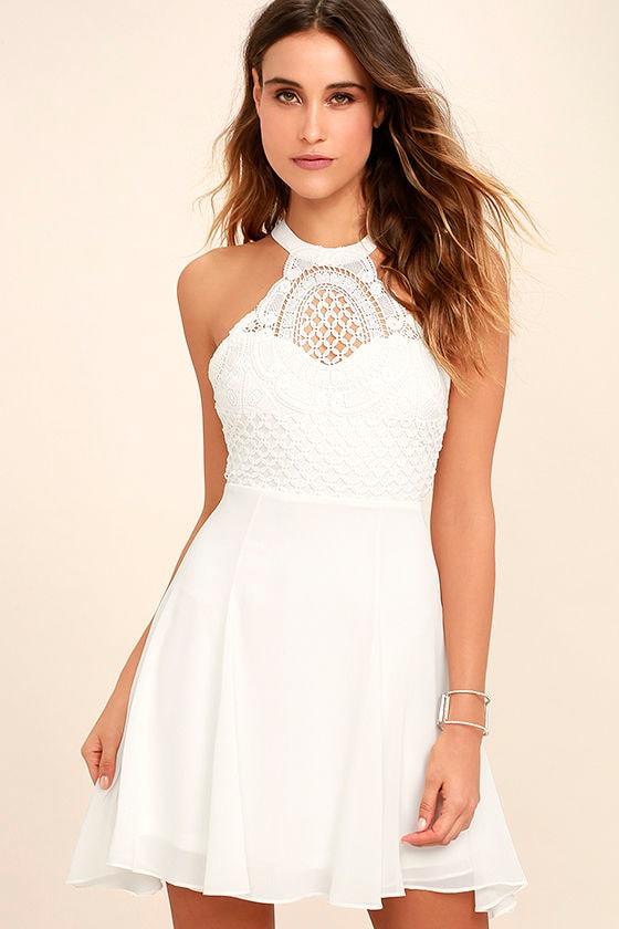 Made In The Crocheted White Skater Dress 1