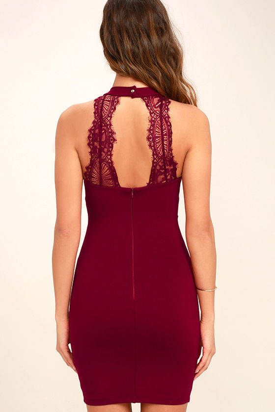 Endlessly Alluring Wine Red Lace Bodycon Dress 4