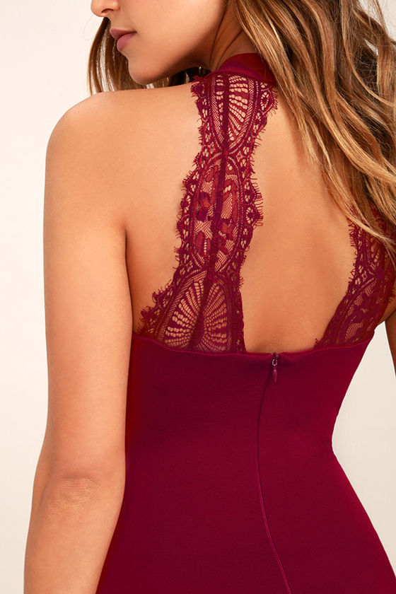 Endlessly Alluring Wine Red Lace Bodycon Dress 5