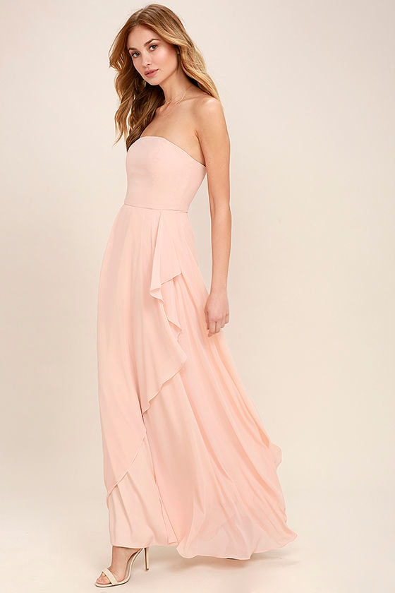 Elegant Blush Pink Dress - Strapless Maxi Dress - Strapless Dress ...