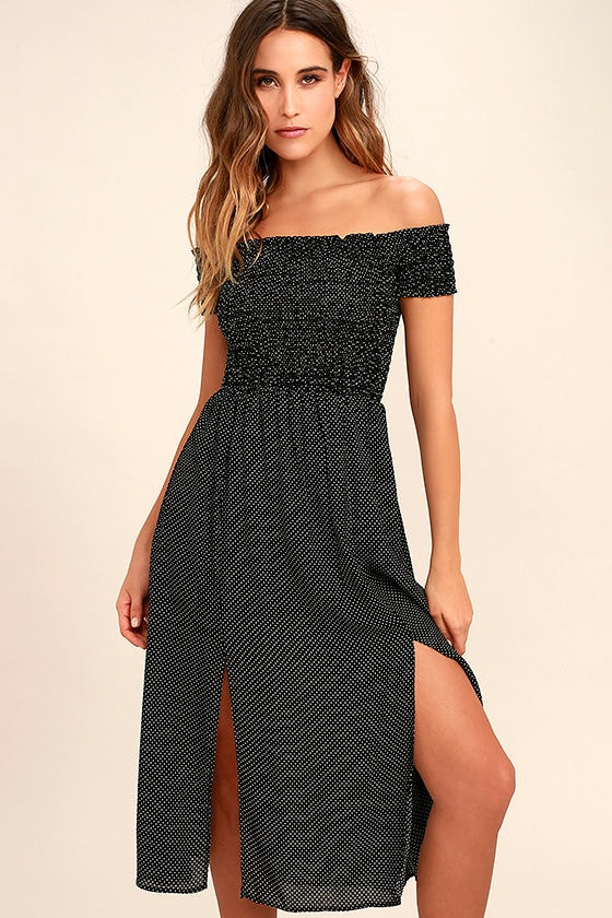 Late Nights Black and White Polka Dot Off-the-Shoulder Dress 1