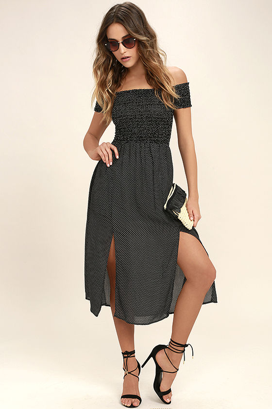 450715fac8d9 Lovely Black and White Dress - Polka Dot Dress - Off-the-Shoulder ...