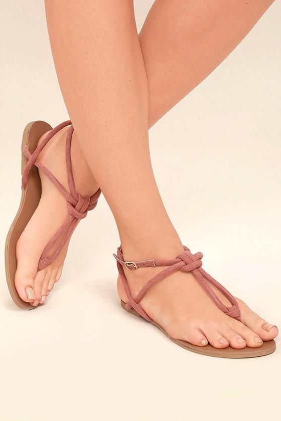 ba958e564c5f46 Cute Mauve Suede Sandals - Flat Sandals - Knotted Sandals -  17.00