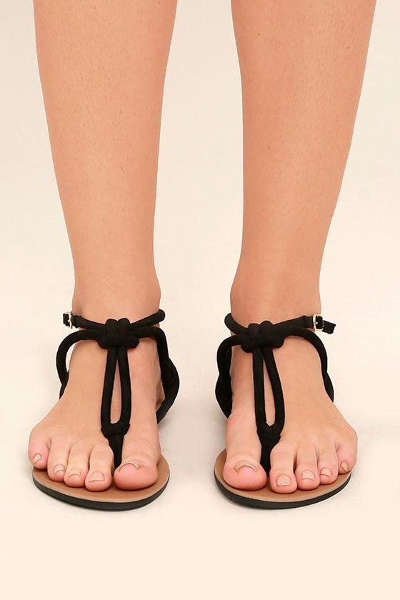 9925471afff0 Cute Black Suede Sandals - Flat Sandals - Knotted Sandals -  17.00