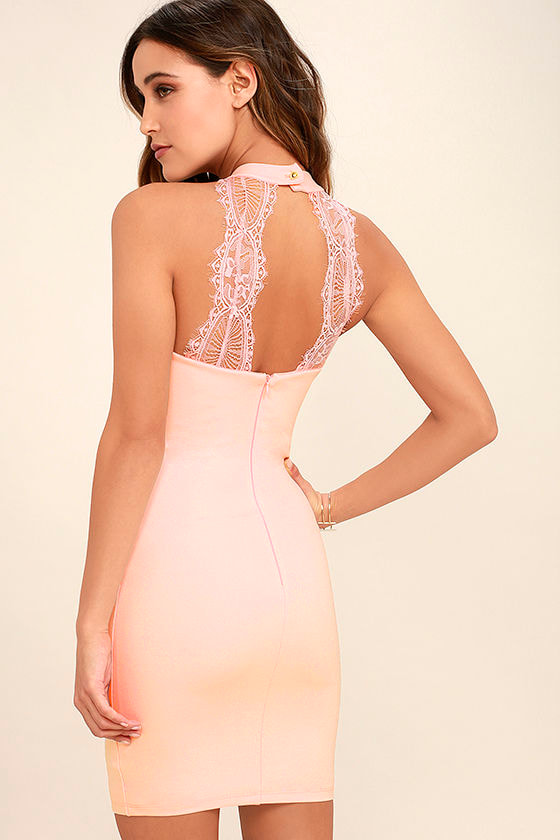 Endlessly Alluring Blush Pink Lace Bodycon Dress 1