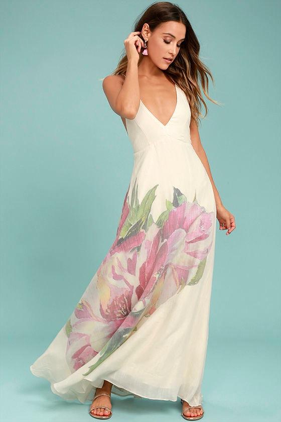 Zen Garden Cream Floral Print Maxi Dress 1