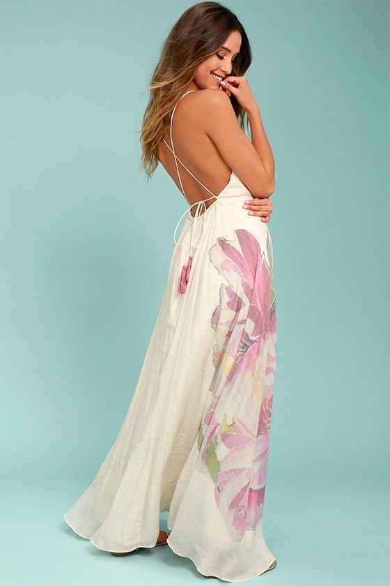 Zen Garden Cream Floral Print Maxi Dress 2