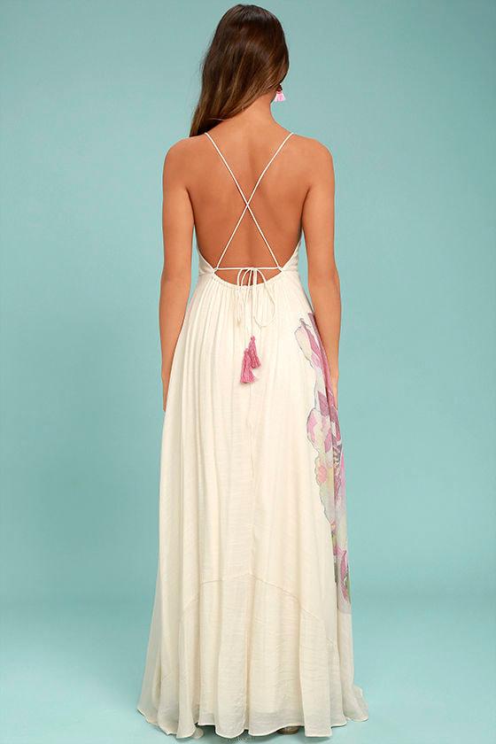 Zen Garden Cream Floral Print Maxi Dress 3
