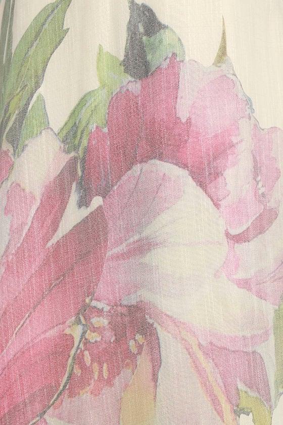 Zen Garden Cream Floral Print Maxi Dress 4
