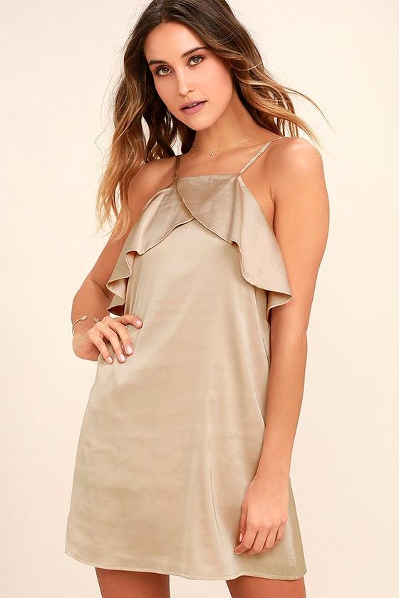 Spice Twirl Light Beige Satin Dress 1