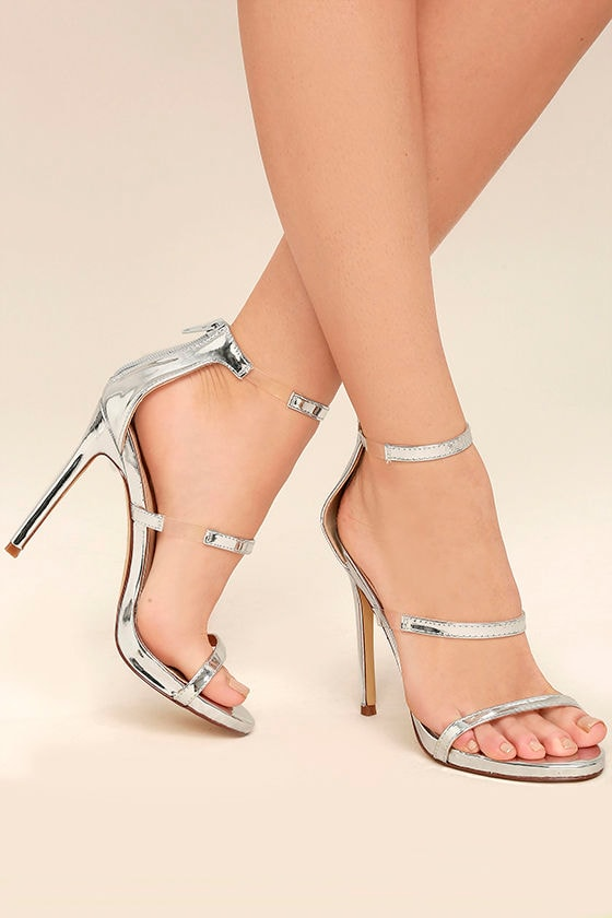 Chic Silver Heels - Metallic Heels - High Heel Sandals - Lucite ...