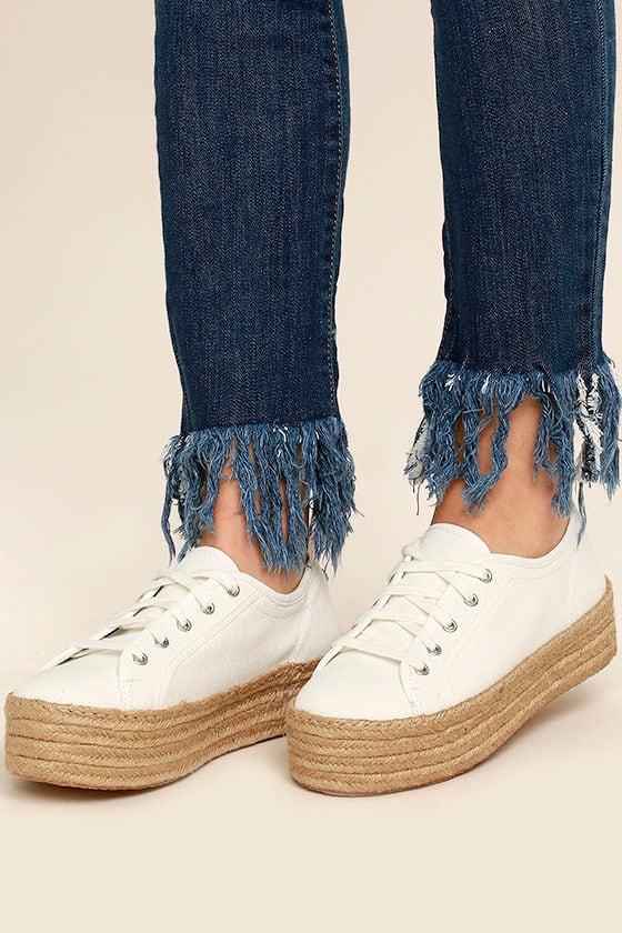 cda6bde3f75 Steve Madden Hampton Sneakers - White Platform Sneakers - Espadrille ...