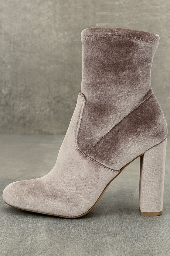 1558a834412 Steve Madden Edit - Grey Velvet Booties - High Heel Boots