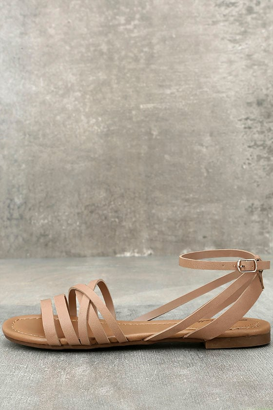 e22faf392c Cute Natural Ankle Strap Heels - Natural Flat Sandals - Strappy Nude Sandals  - $19.00