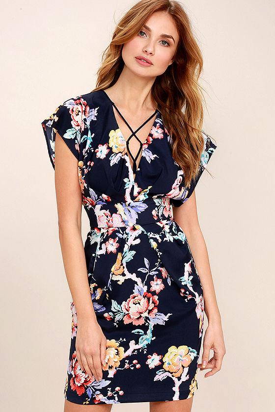 b2ee8119 Lovely Navy Blue Floral Print Dress - Lace-Up Dress - Sheath Dress - $103.00