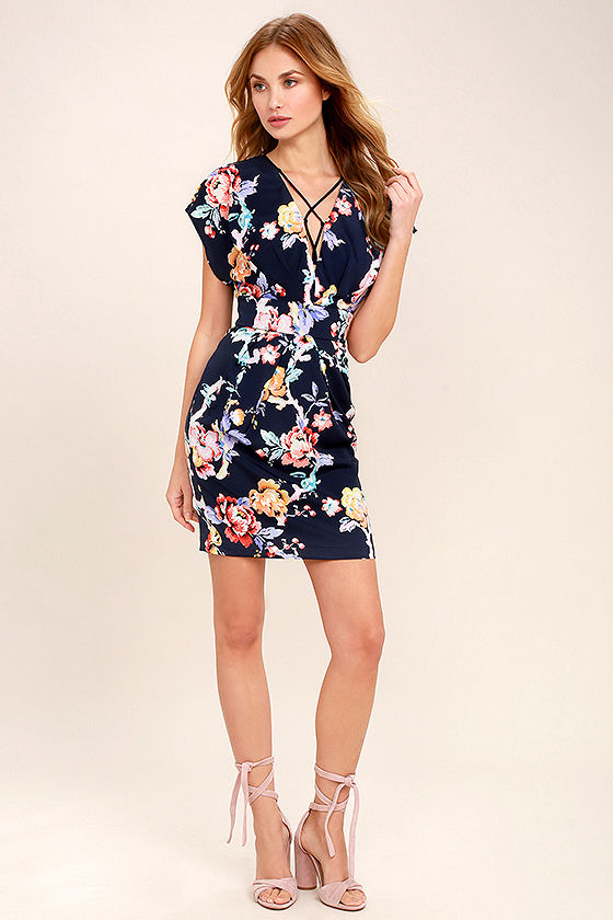 Adelyn Rae In the Garden Navy Blue Floral Print Lace-Up Dress 2