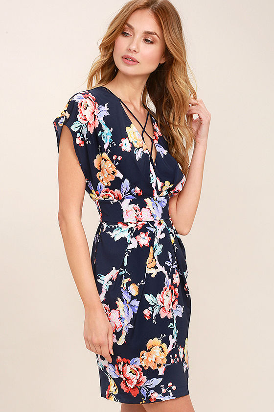 Adelyn Rae In the Garden Navy Blue Floral Print Lace-Up Dress 3