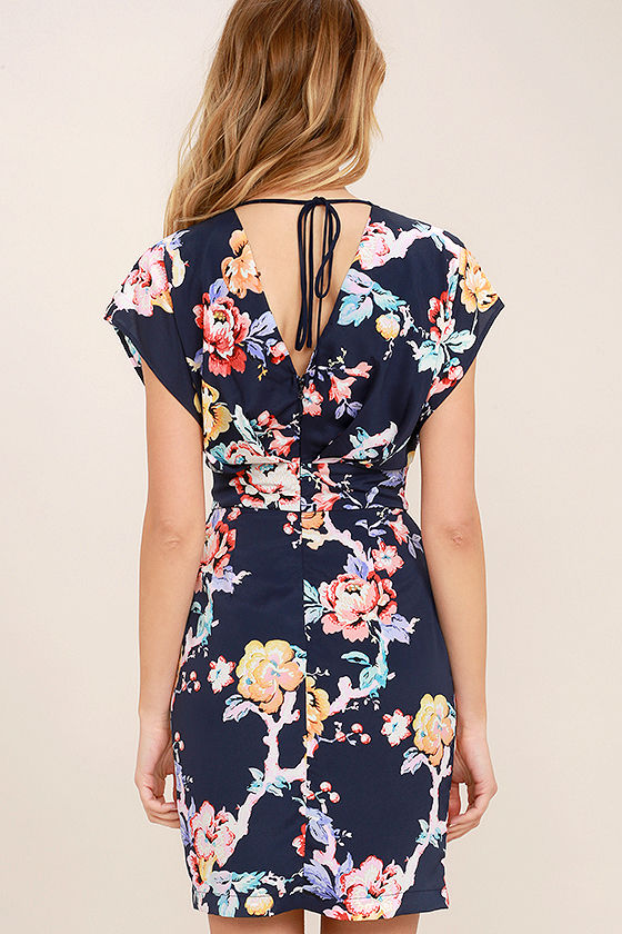 Adelyn Rae In the Garden Navy Blue Floral Print Lace-Up Dress 4