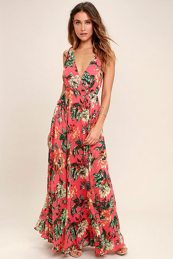 Countryside Manor Coral Red Floral Print Maxi Dress 1