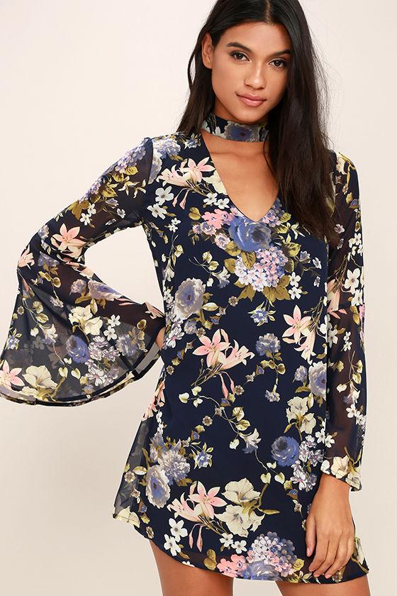 32a1fa8b0e9e Lovely Navy Blue Floral Print Dress - Bell Sleeve Dress - Shift Dress -   56.00