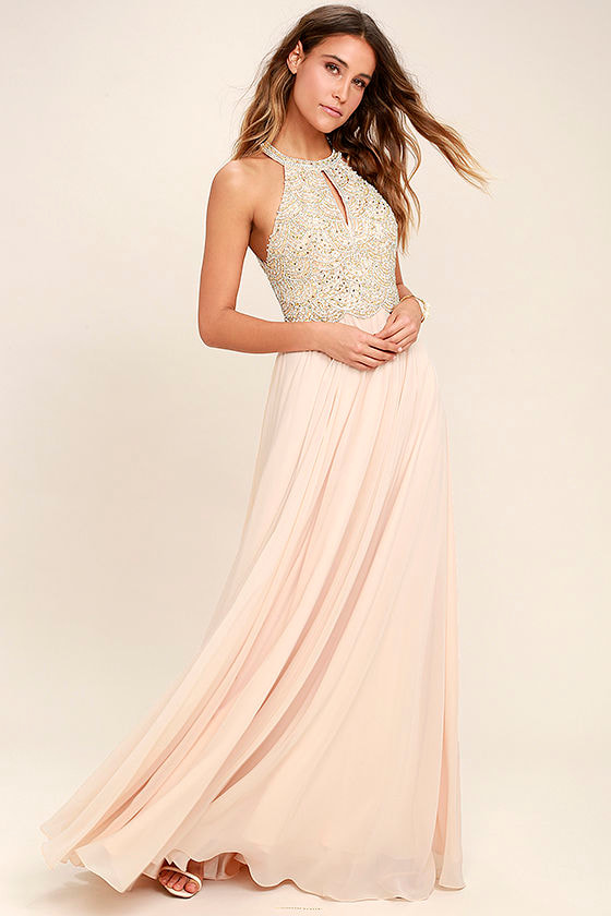 Lovely Blush Dress - Maxi Dress - Beaded Gown - Rhinestone Dress ...