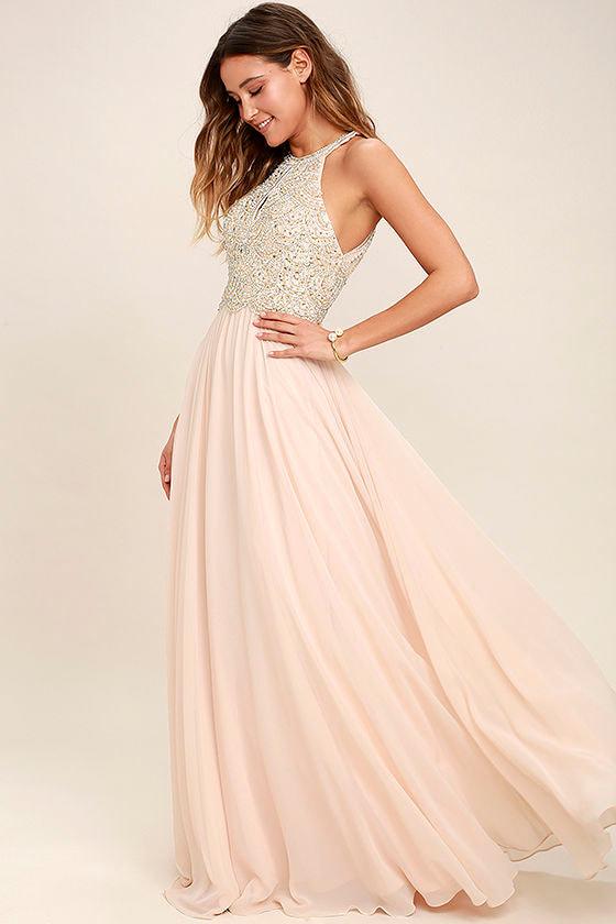 Lovely Blush Dress - Maxi Dress - Beaded Gown - Rhinestone Dress ...