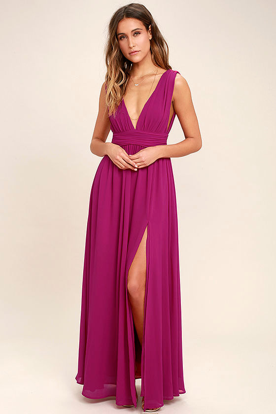 b3fc0edc055 Magenta Gown - Maxi Dress - Sleeveless Maxi Dress -  84.00