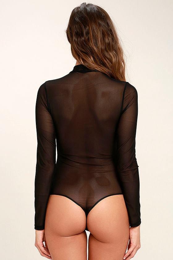 I See You Black Mesh Bodysuit 5