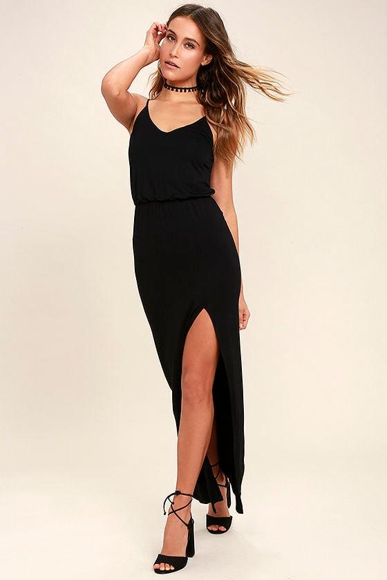 Watch the Sunset Black Maxi Dress 2