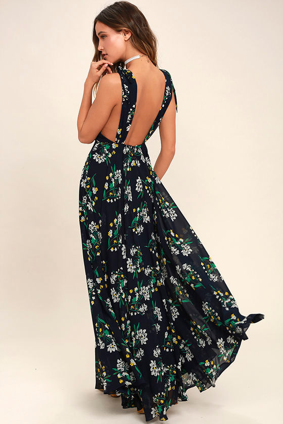 Remember the Days Navy Blue Floral Print Maxi Dress 1