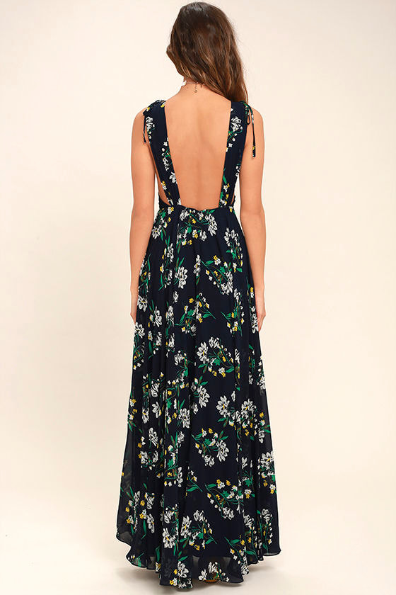 Remember the Days Navy Blue Floral Print Maxi Dress 4