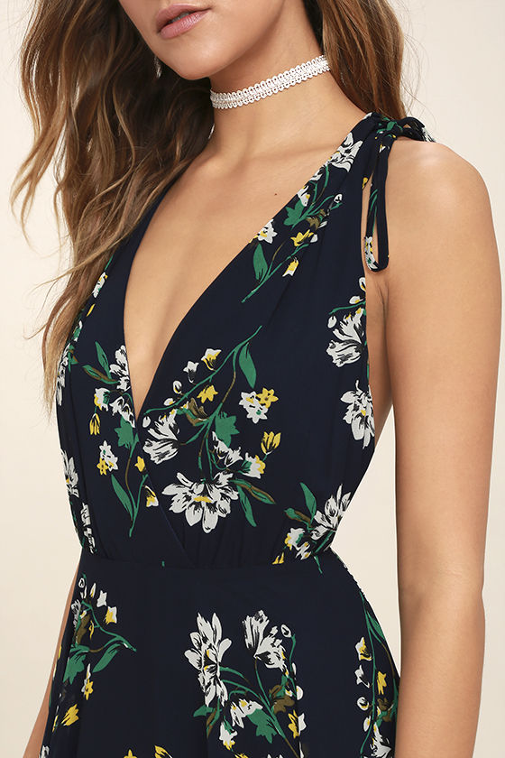 Remember the Days Navy Blue Floral Print Maxi Dress 5