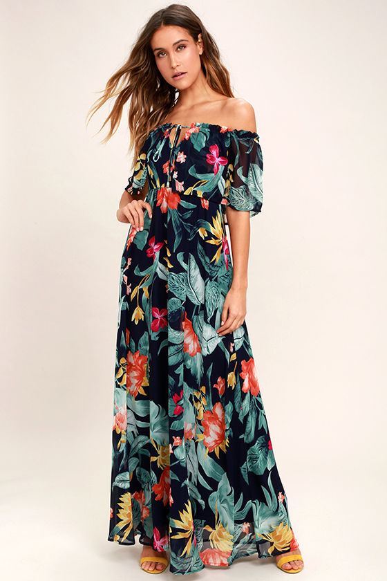 c429203fba08 Lovely Navy Blue Print Dress - Tropical Print Dress - Off-the-Shoulder Dress  -  98.00