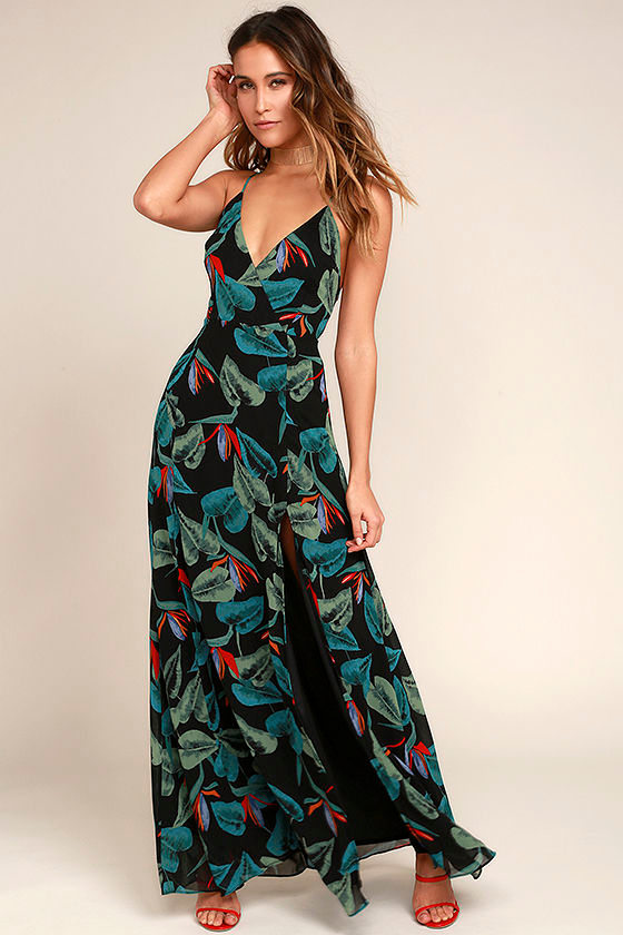 Birds of Paradise Black Floral Print Maxi Dress 1