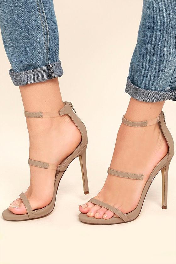 06403692c506 Chic Nude Heels - Nubuck Heels - High Heel Sandals - Lucite Heels ...