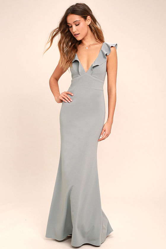 Lovely grey dress maxi dress mermaid maxi gown for Gray dresses to wear to a wedding