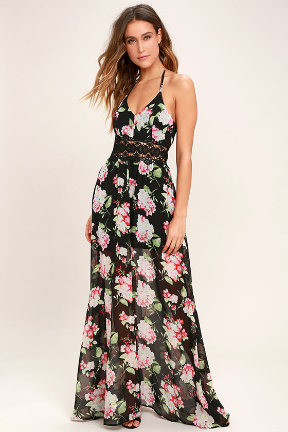 lovely black dress floral print dress maxi dress 5900