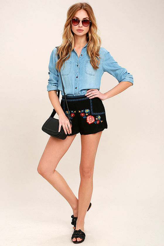 All Inclusive Black Embroidered Shorts 3