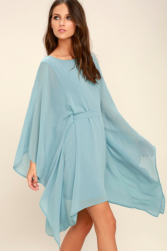 9d58e822c2 Lovely Light Blue Dress - Kaftan Dress - Belted Dress - $57.00