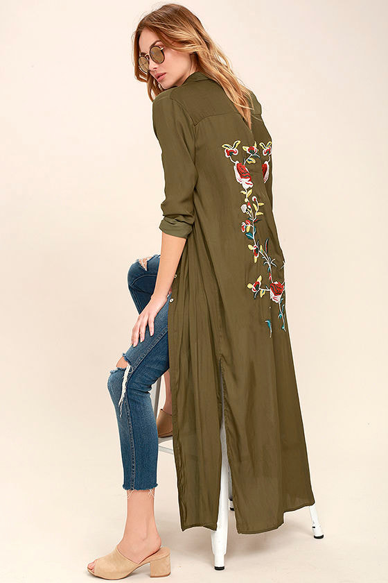 Boho Soul Olive Green Embroidered Maxi Top 1