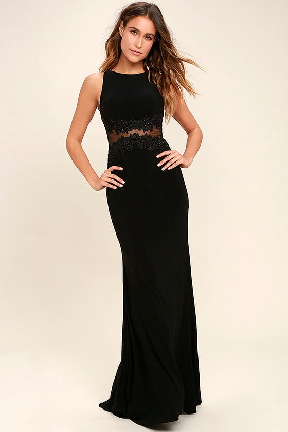 stunning black dress lace maxi dress mesh maxi dress