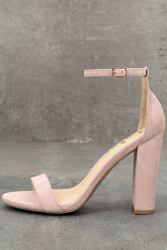 Taylor Nude Suede Ankle Strap Heels 2