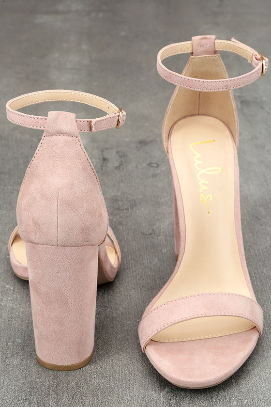 Lulu's Taylor Nude Suede Ankle Strap Heels