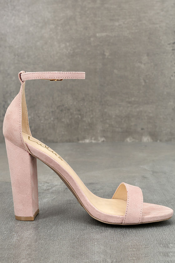 Taylor Nude Suede Ankle Strap Heels 4