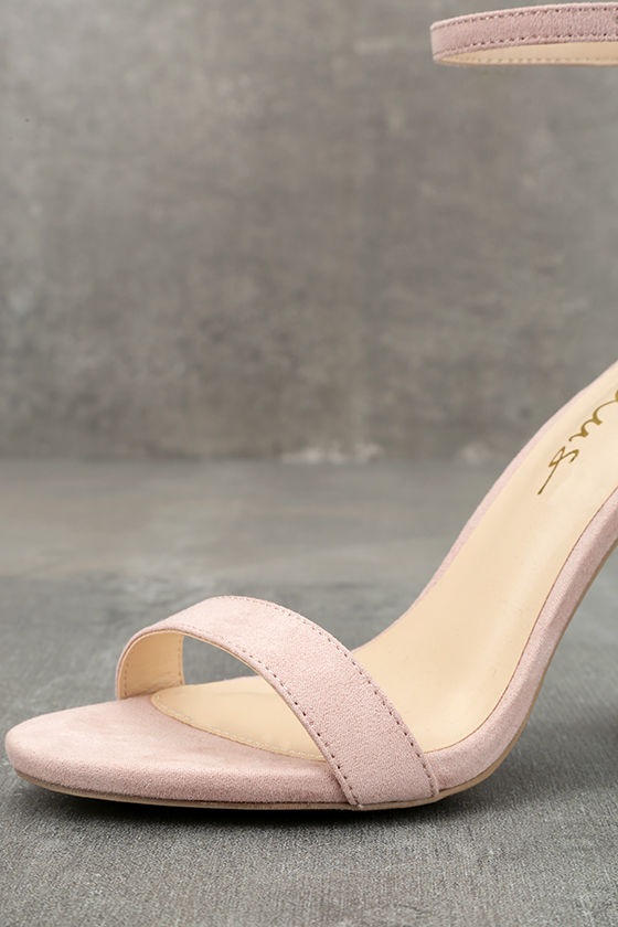 Taylor Nude Suede Ankle Strap Heels 6