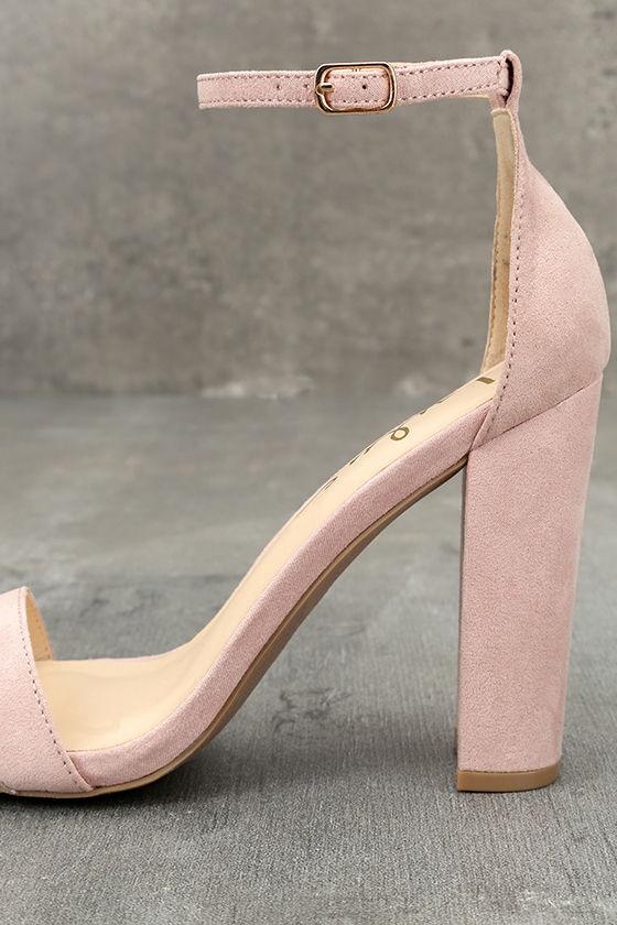 Taylor Nude Suede Ankle Strap Heels 7