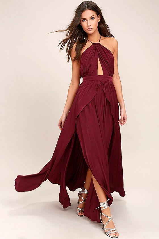 On My Own Burgundy Maxi Dress 1