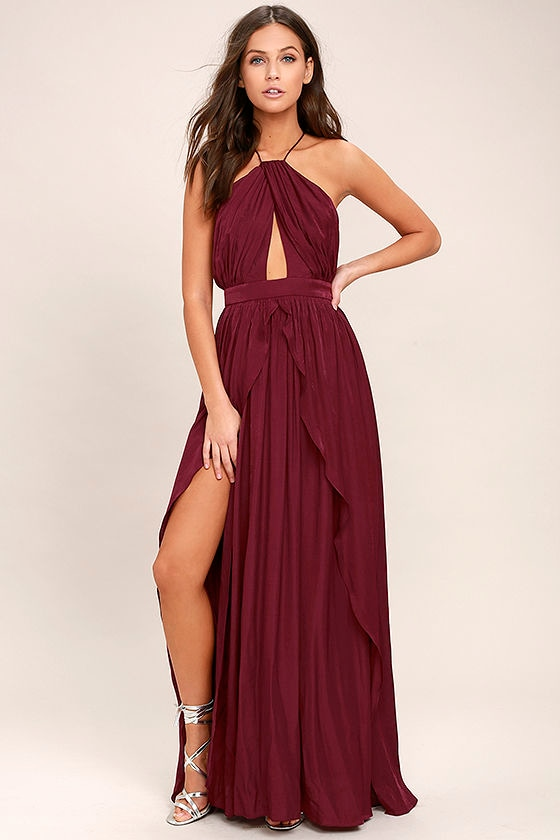 20eaa41da73b Lovely Burgundy Dress - Maxi Dress - Halter Dress -  94.00