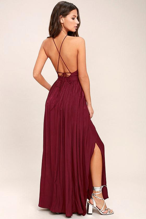 On My Own Burgundy Maxi Dress 3